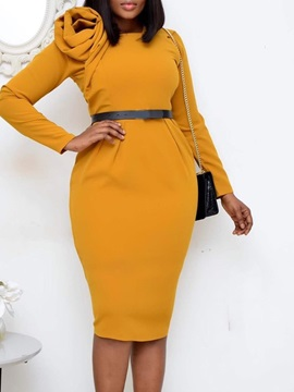 Mid-Calf Long Sleeve Patchwork Office Lady Bodycon Women's Dress