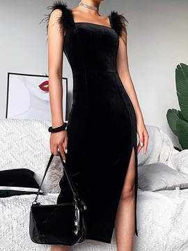 Feather Square Neck Mid-Calf Pullover Summer Women's Dress