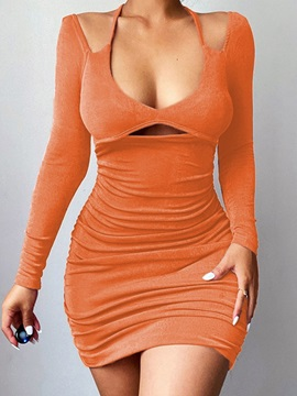 Above Knee Hollow Long Sleeve Bodycon Pullover Women's Dress
