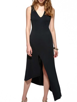 Asymmetric V Necked Sleeveless Dress