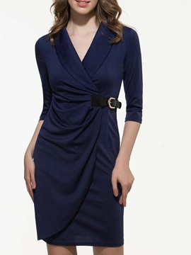 European V Pleated 3/4 Sleeve Dress