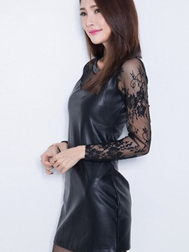 Lace Sleeve Leather Day Dress