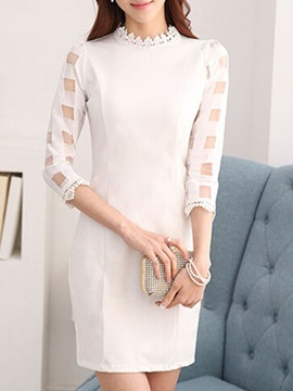 White Hollow Sleeve Day Dress