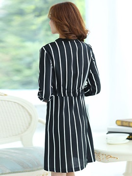 Stripe Long Sleeve Belt Slim Day Dress