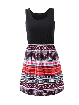 Sleeveless Patwork Women's Dress