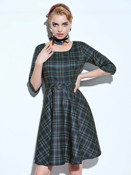 Plaid 3/4 Sleeve Skater Dress