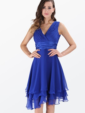 Plain V Neck Sleeveless Skater Dress