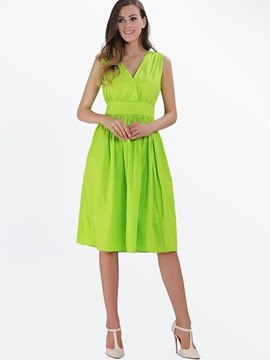V-Neck Empire Waist Ruffled Work Dress