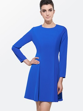 Solid Color Long Sleeve A-Line Day Dress