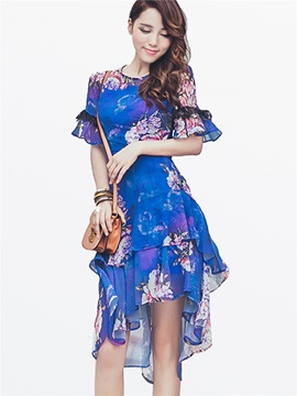Print Flare Sleeve High-Low Day Dress