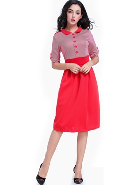 Color Block Polo Neck Puff Sleeve Day Dress