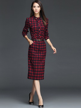 Plaid Stand Collar Belt Bodycon Dress