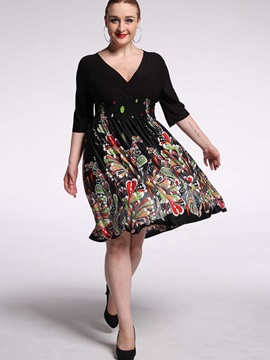 Print V-Neck Expansion Day Dress