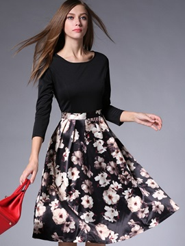 Print Patchwork Expansion Skater Dress