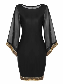 Sequins Patchwork Flare Sleeve Women's Bodycon Dress