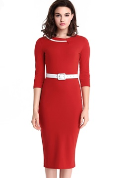 Solid Color Half Sleeve Knee Length Day Dress