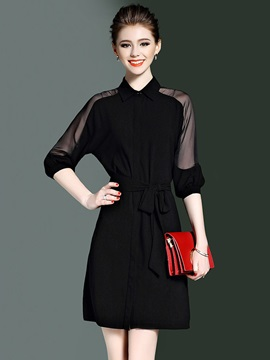 Solid Color Long Sleeve Tie Short Day Dress