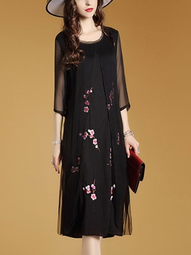 Round Neck Half Sleeve Long Day Dress