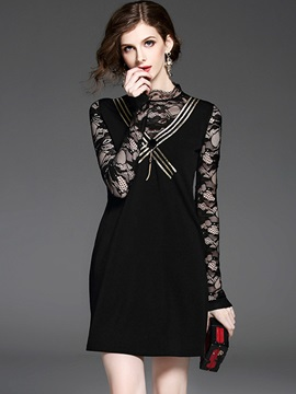 Chic Black Long Sleeve Short Day Dress