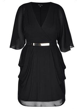 Black Short Sleeve Chiffon Plus Size Short Day Dress