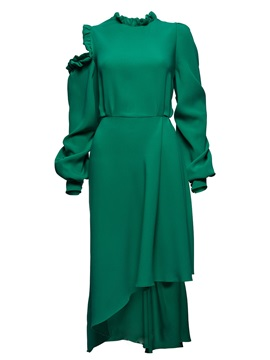 Green Long Sleeve Short Day Dress