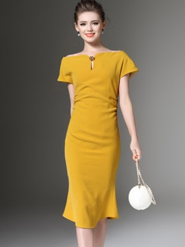 Pure Color Short Sleeve Long Day Dress