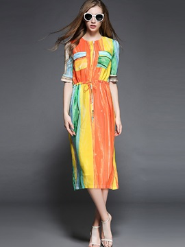 Color Block Long Sleeve Knee Length Day Dress