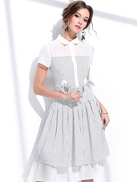 Vertical Stripes Short Sleeve Women's Skater Dress