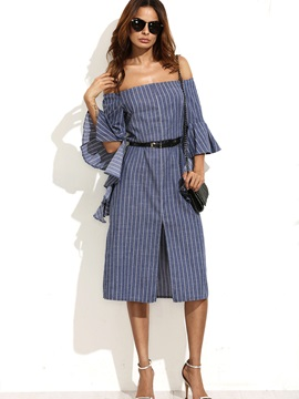 Boat Neck Flare Sleeve Long Day Dress