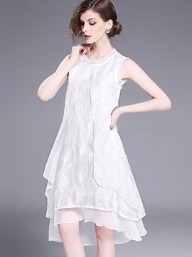 Pure Color Sleeveless Short Day Dress