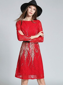 Chic Round Neck Long Sleeve Short Day Dress