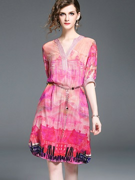Half Sleeve Floral Imprint Chiffon Short Day Dress