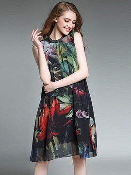 Vogue Floral Imprint Sleeveless Short Day Dress