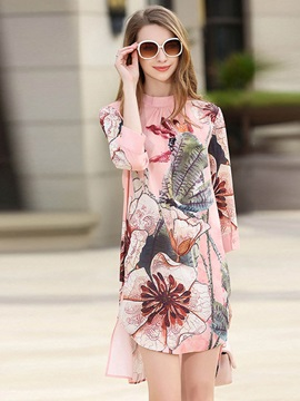 Long Sleeve Floral Imprint Short Day Dress
