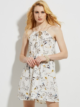 Spaghetti Strap Flower Print A-Line Dress