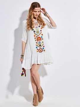 V-Neck Floral Embroidery Women's A-Line Dress