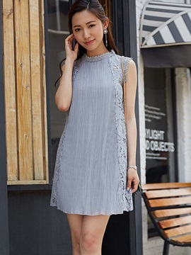 Stand Collar Lace Patchwork Party Dress