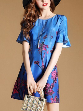 Vogue Round Neck Short Sleeve Short Day Dress