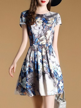 Fashion Floral Imprint Short Sleeve Short Day Dress