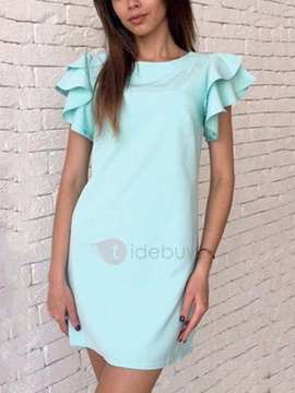 Multi-Color Short Straight Fit Women's Day Dress