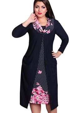 Plus Size Color Block Long Sleeve Day Dress