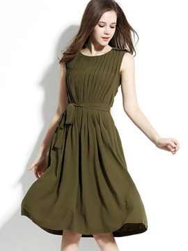 Multi-colored Round Neck Sleeveless Short Day Dress