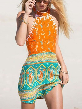 Bohemian Print Backless Short Beach Dress