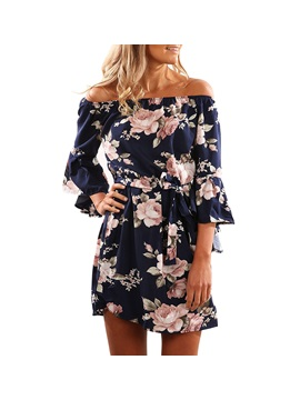 Floral Off Shoulder Long Sleeves Women's Day Dress