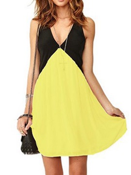 Color Block Sleeveless Women's Day Dress