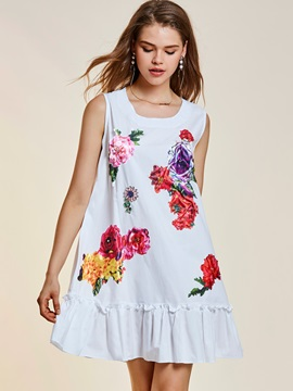 Sleeveless Beading Decorative Floral Print Women's A-Line Dress