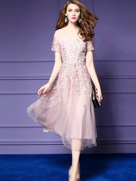 Dazzling Solid Color Short Sleeve Long Day Dress