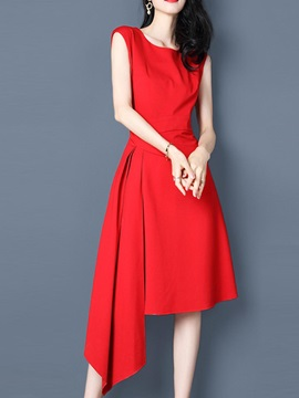 Solid Color Sleeveless Women's Short Day Dress
