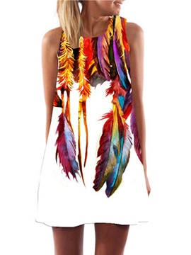 Feathers A-line Sleeveless Women's Day Dress