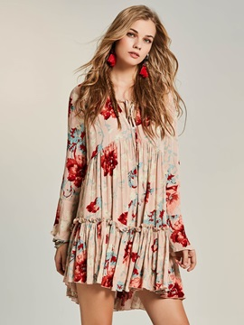 Bohoartist V-Neck Flower Print Women's Day Dress